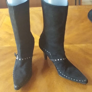 COSTA BLANCA BLACK LEATHER SUEDE BOOTS SIZE 6
